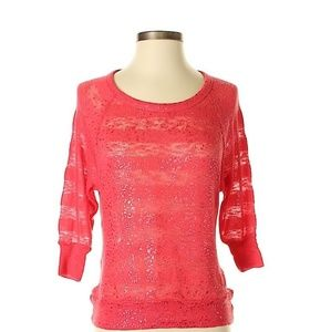 Fang Coral Glitter Stripe Shimmer Thin Sweater XS